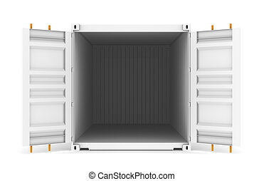 Open Container. White with orange Lock Bars