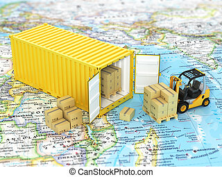 Open container with forklift stacker loader holding...