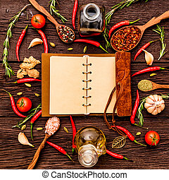 Open cook book and various spices composition