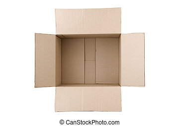 open corrugated cardboard box on white background