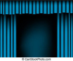 Open curtains - Editable vector illustration of open blue...