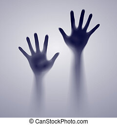 Open dark hands - Open hand in the blue mist. Illustration...