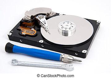 open defective computer hard drive