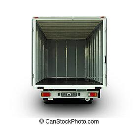 open delivery van - Empty van with rear doors opened, ...