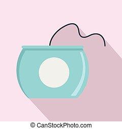 Open dental floss box icon, flat style