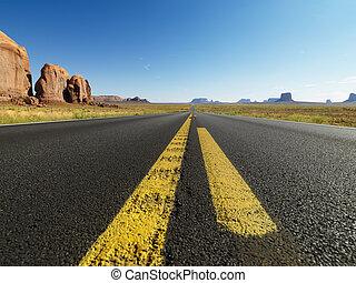 Open desert road. - Open highway in scenic desert landscape...
