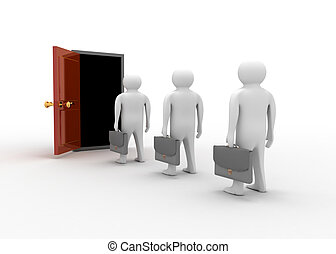 open deur, met, 3d, man