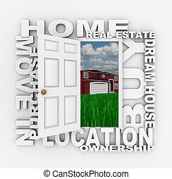 open deur, om te, huis eigendomsrecht