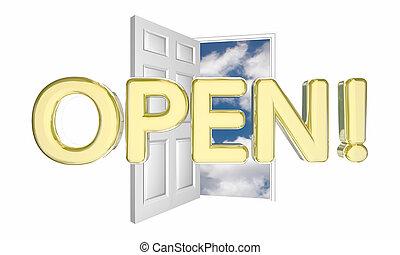 open deur, woord, nieuwe zaken, het grote openen, 3d, illustratie