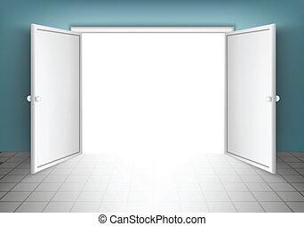 open, deuren, vrijstaand