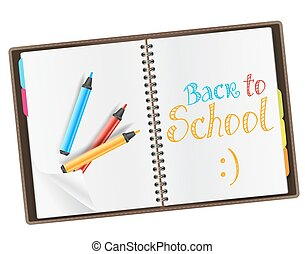 open diary with back to school quote and color markers. vector illustration