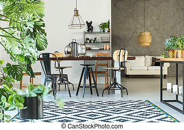 Open dining room with table