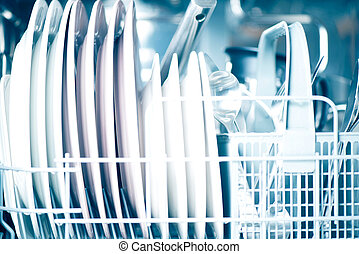 Open dishwasher - Clean dishes in dishwasher