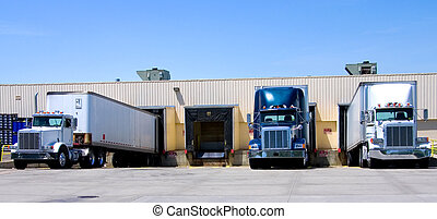 Open Dock - This is a picture of 18 wheeler semi trucks...