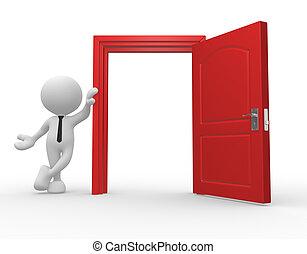 Open door - 3d people - man, person and a open door.