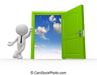 Open door - 3d people - man, person and a open door to...