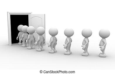 Open door - 3d people - men, person with a open door.