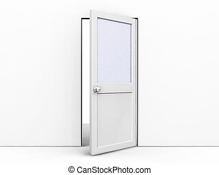 Open door - 3D render of an open door