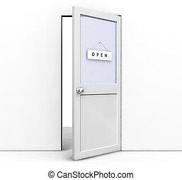 Open door - 3D render of an open door with an open sign on ...
