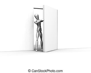 Open door - 3D render of someone coming through an open door