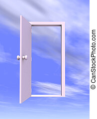 Open Door - 3D rendered Illustration.