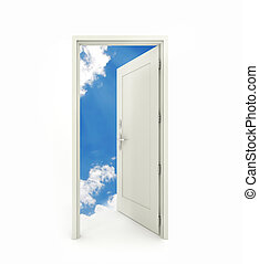 3D rendering freestanding open door with white clouds blue sky background isolated on white background