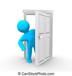 A person peeking around an open door
