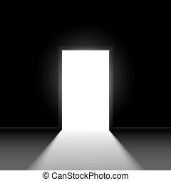 Abstract open door. Illustration on black background