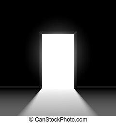 Open door - Abstract open door. Illustration on black ...