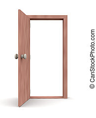 Open Door - Cartoon - Cartoon Style 3D render. Isolated on...