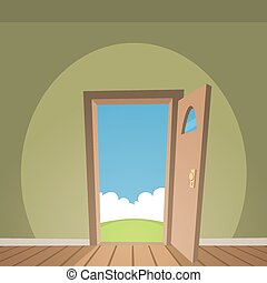 Open Door - Cartoon illustration of the room with open door...