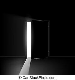 Open door. Illustration on black background for creative...