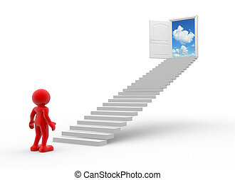 Open door - 3d people - human character , stairs and a open...