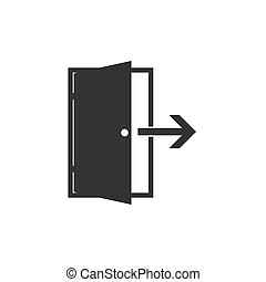 Open door icon. Vector illustration, flat design. - Vector