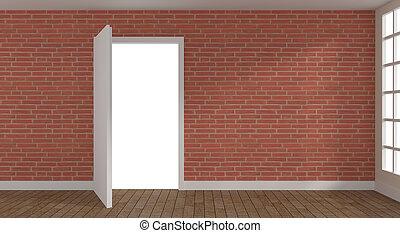 Open door in a bright room