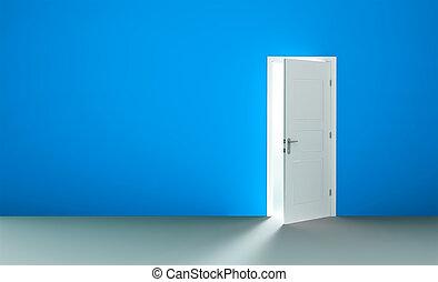 Open door in a empty room - Open white door in a empty blue...