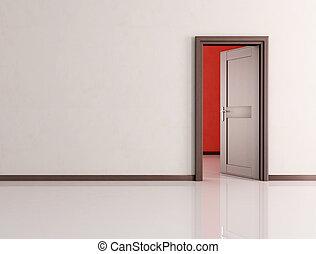 open door in a empty room - white empty room with open...