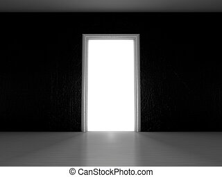 Open door in a room with the outgoing light. 3D