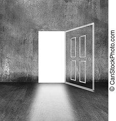 open door in concrete wall