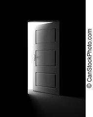 Light shining through open door in dark room with blue walls