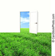 Open door in field