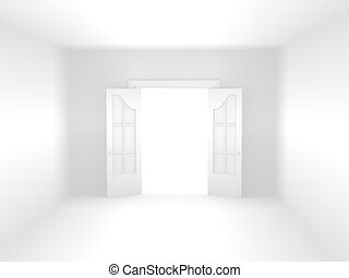 Open door in white room