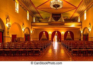 open door inside Mission chapel