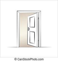 open door drawing perspective. Open Door. Isolated Illustration Of A Vector Door Drawing Perspective