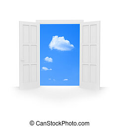 Isolated open double door to blue sky with white clouds.