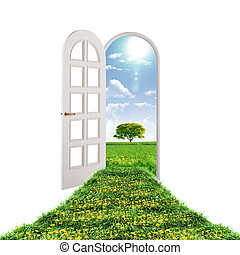 Picture of a open door leading to summer landscape