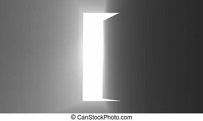 Open door lights on black Glow light effect Doorway welcome concept 4k