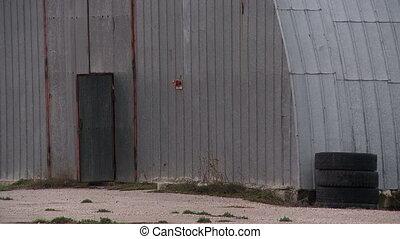 Open door of hangar - Open door of old hangar