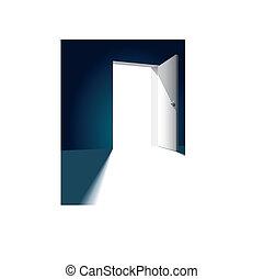 Open door - Open bright door opposite to dark wall, vector ...