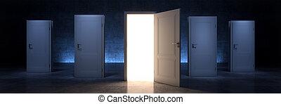 open door, opportunity concept. 3d rendering